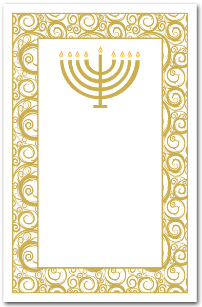Gold Menorah On Swirls Hanukkah Party Invitations
