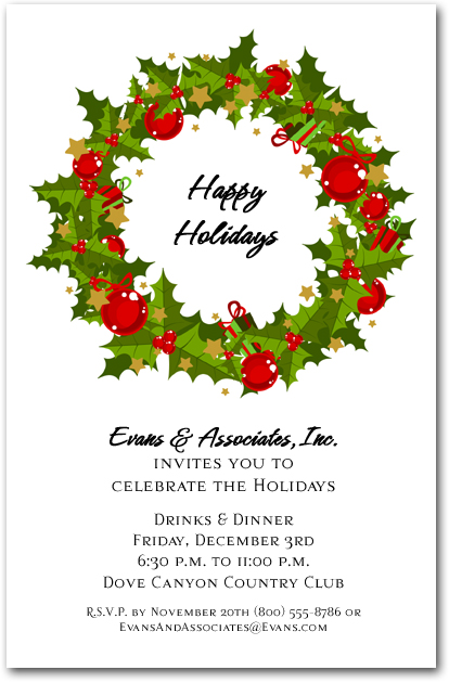 Holiday Evergreen Wreath Invitations Christmas Invitations