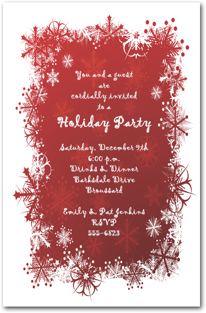 Snowflakes On Red Holiday Invitation Christmas Invitations