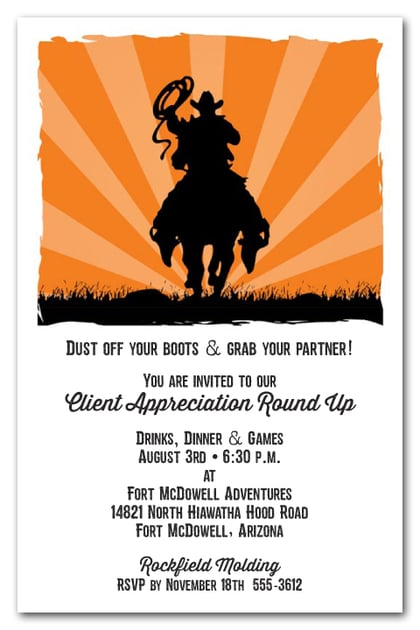 Cowboy Sunset Western Invitations