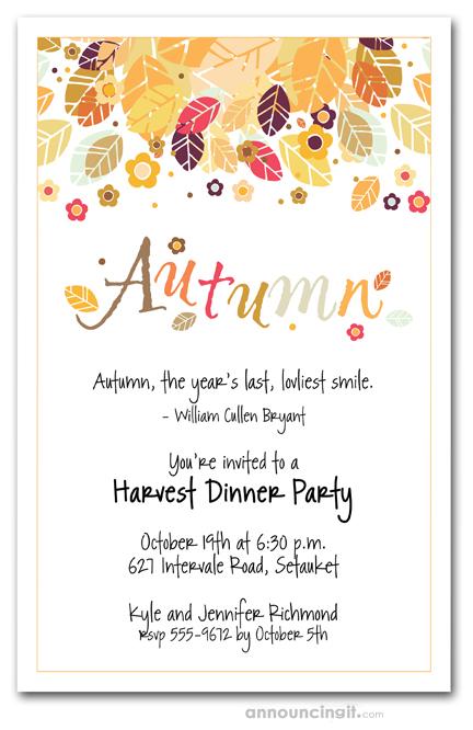 Autumn Season Invitations Fall Invitations