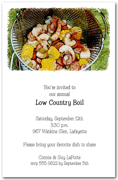Awesome Low Country Boil Party Invitations