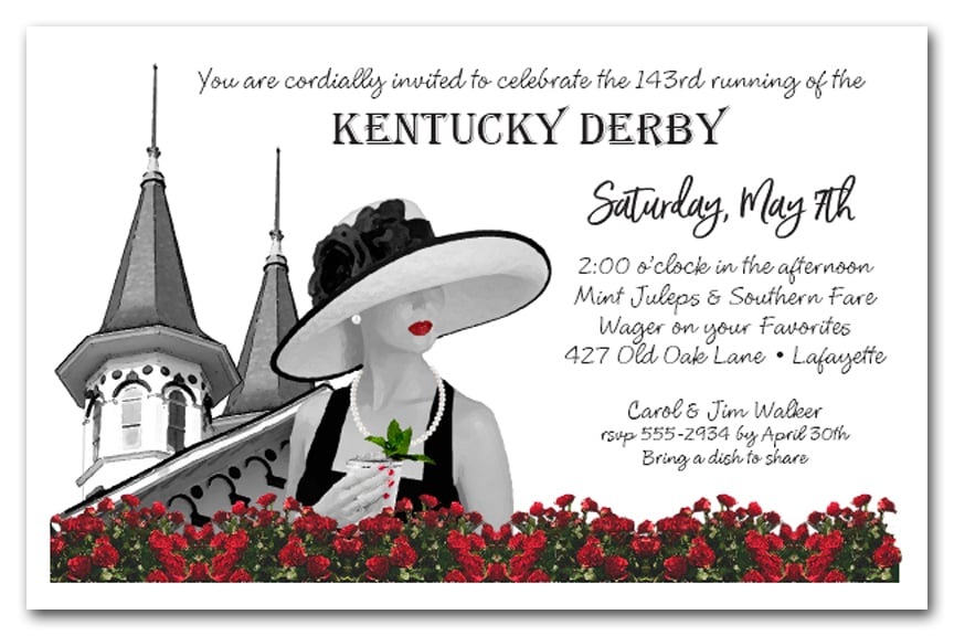 Noir Kentucky Derby Party Invitations