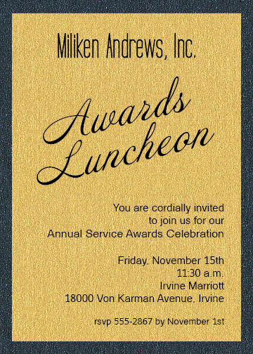 Shimmery Gold On Onyx Layered Business Awards Invitations