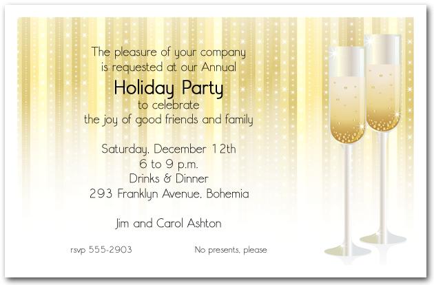 Champagne Glasses On Stars Holiday Invitation Christmas