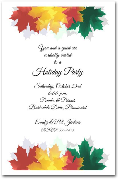 Colorful Autumn Leaves Invitations Fall Party Invitations