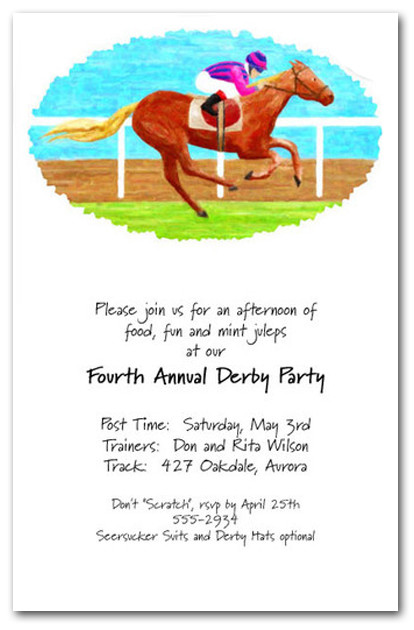 Finish Line Horse Racing Invitations Kentucky Derby Party
