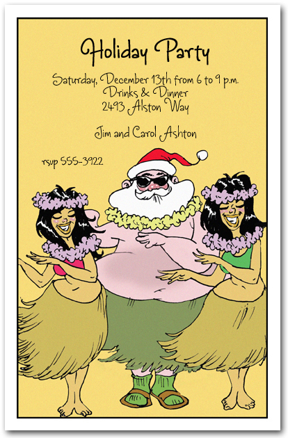 Hula Holidays Christmas Party Invitation Santa Tropical