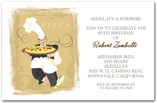 Pizza Invitation Italian Restaurant Invitation