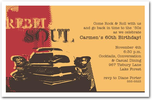 Rebel Soul Car Birthday Invitation 1950s Invitation