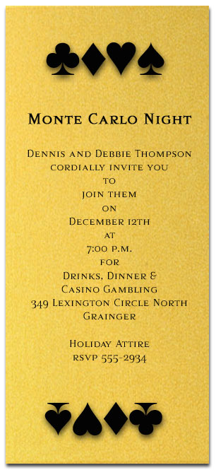Playing Card Suits Invitation Poker Casino Night Monte