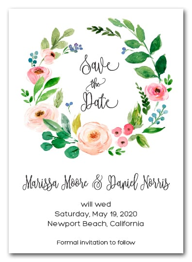Floral Wreath Save The Date Cards Wedding Save The Date Cards