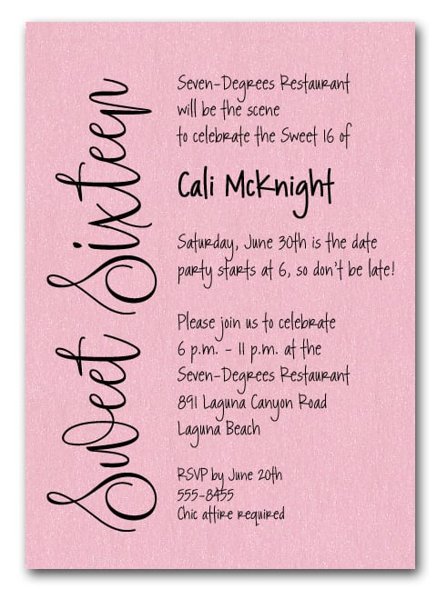Shimmery Pink Sweet Sixteen Birthday Party Invitations