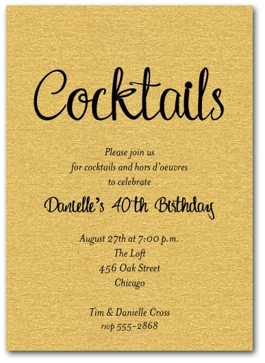 Shimmery Gold Cocktail Party Invitations