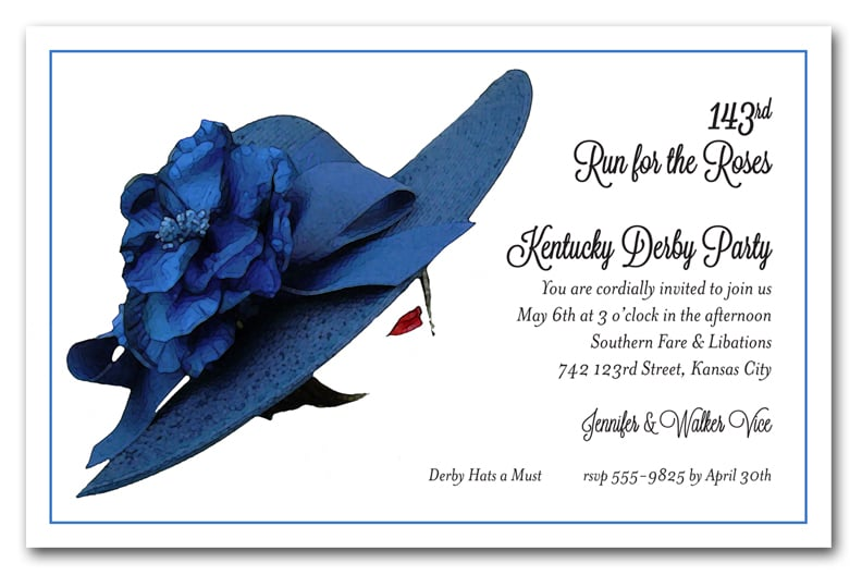 Blue Floral Kentucky Derby Hat Party Invitations
