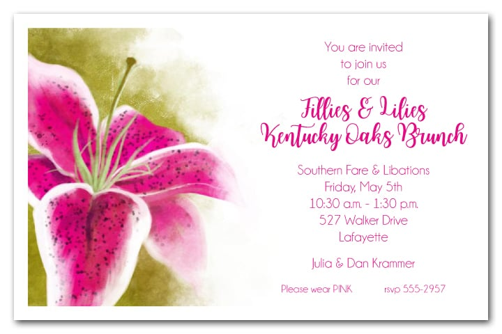 Kentucky Oaks Lily Party Invitations