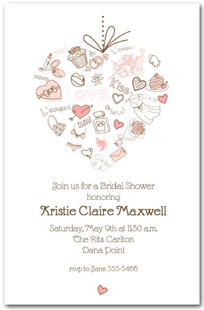 Love Heart Bridal Shower Invitations Lingerie Bridal