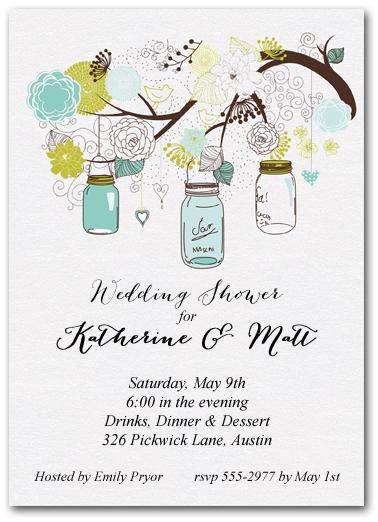 Tree Of Blue Mason Jars Party Invitations