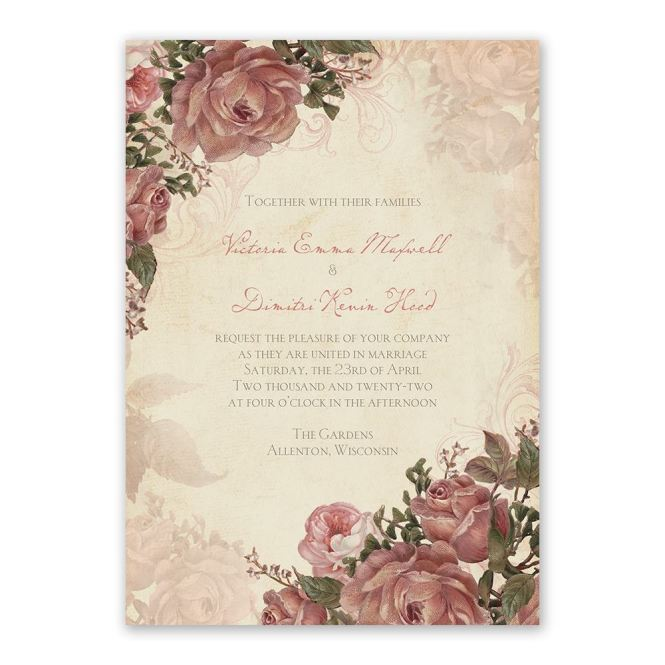 Vintage Roses Invitation With Free