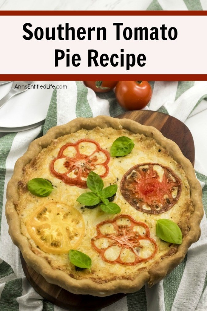 Southern Tomato Pie Recipe. This southern tomato pie is simply outstanding! It is so easy to make when you follow this tomato pie recipe. Made with fresh tomatoes, shallots, herbs, and a tasty cheese combination, this fabulous savory tomato pie is a wonderful lunch or dinner entrée, or a hearty side dish.