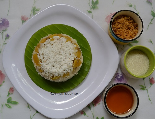 Puttu With Banana Layer / Steamed Rice and Banana Cake