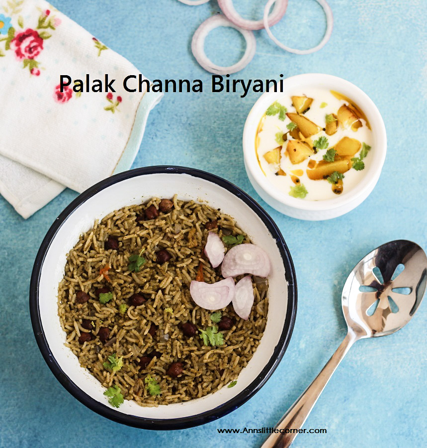 Palak Channa Biryani / Spinach Chickpea Biryani