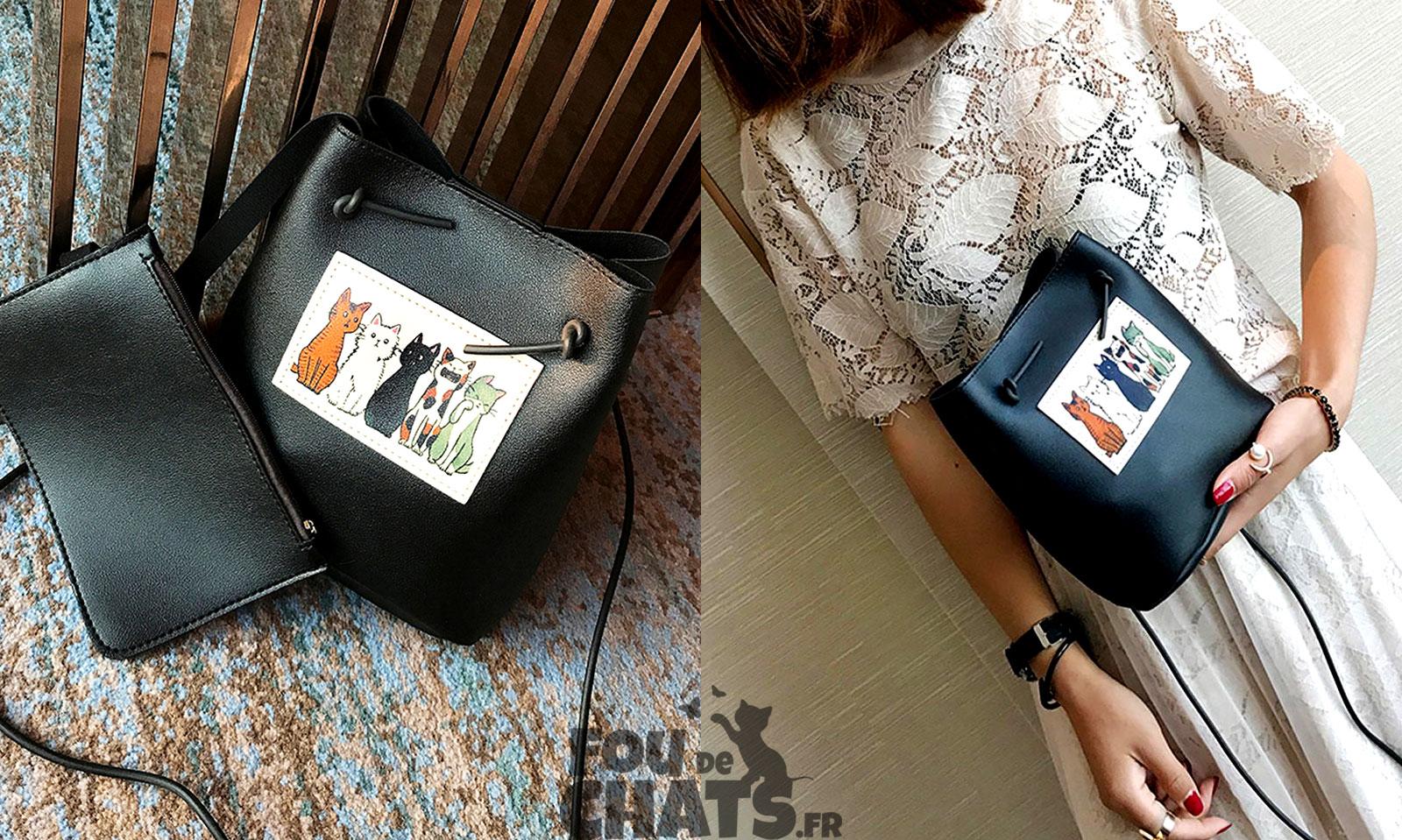 3be1805433 ... 2 en 1 : Pochette sac et son sac à main. Grâce à l'attache qui relie le  sac à main chat et la pochette sac, le risque de perdre ses affaires  n'existe ...