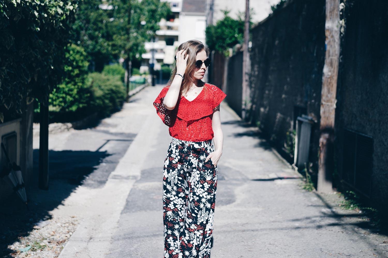 ombrelle pantalon fluide fleurs