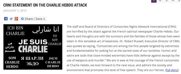 CRNI statement support Charlie Hebdo