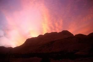 Sunset over Judean wilderness cliffs