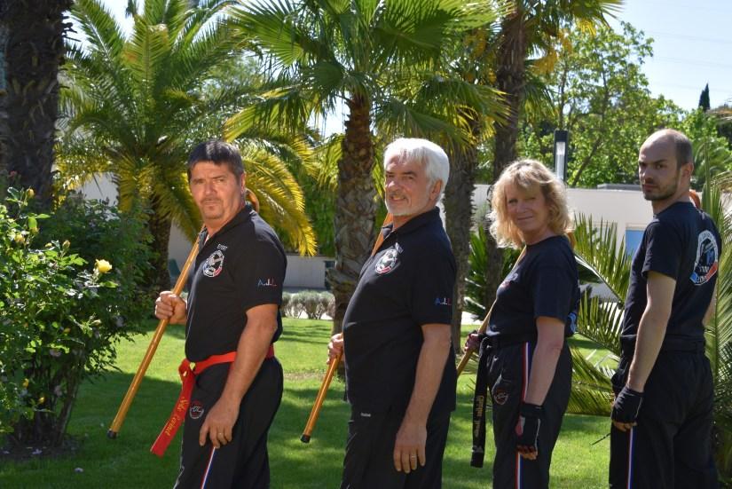 équipe encadrement de canne défense thérapeutique aux jardins de Sophia