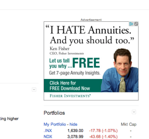 The ad as it appears on Google Finance