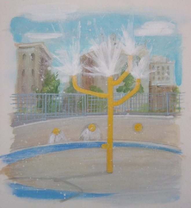sprinkler painting - west side water park nyc