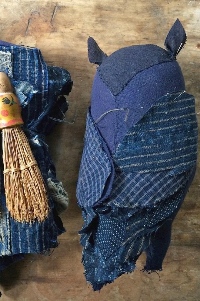owl made from indigo scraps