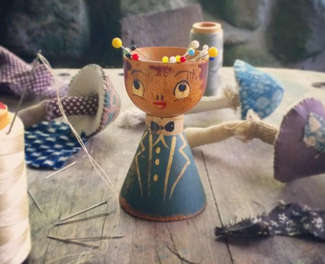 mini hand sewn toadstools