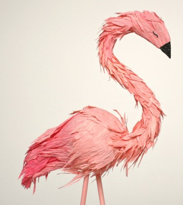 single paper flamingo