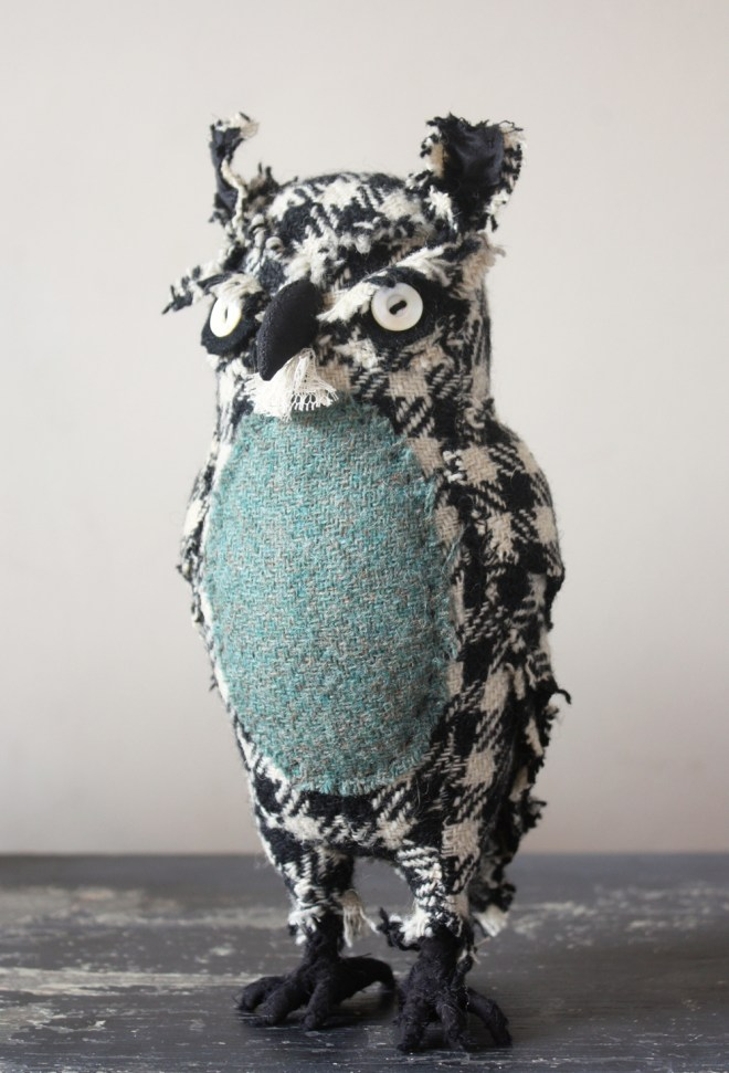 owl made from wool and owl sewing pattern