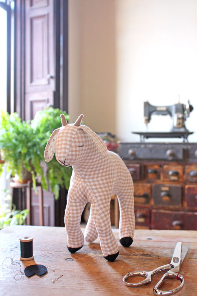 handmade goat in gingham with felt horns