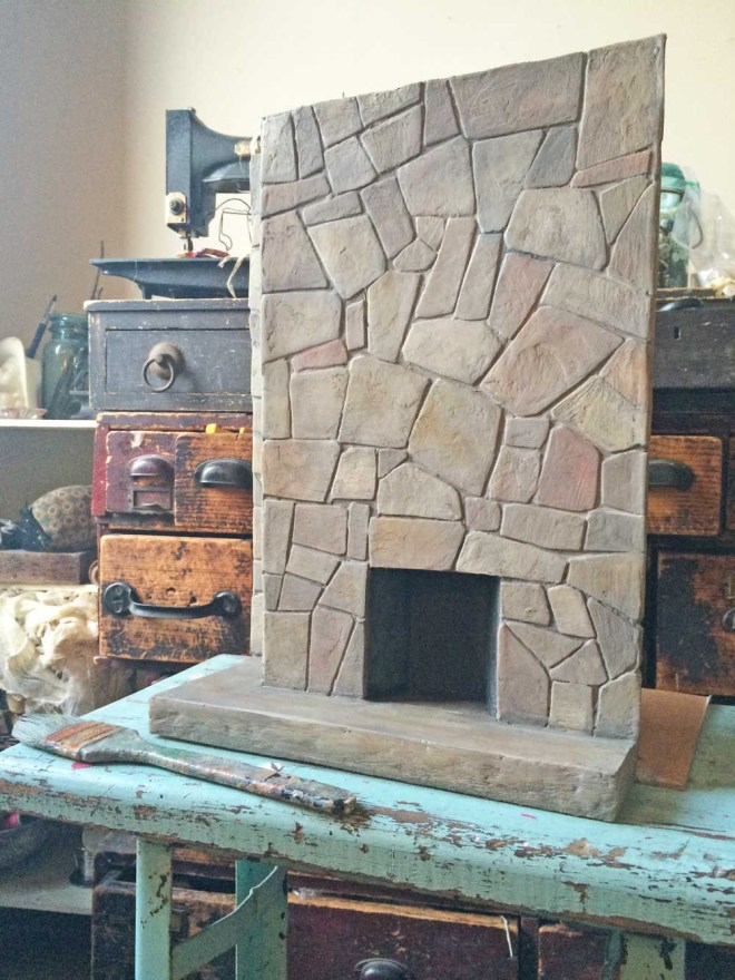 miniature flagstone fireplace