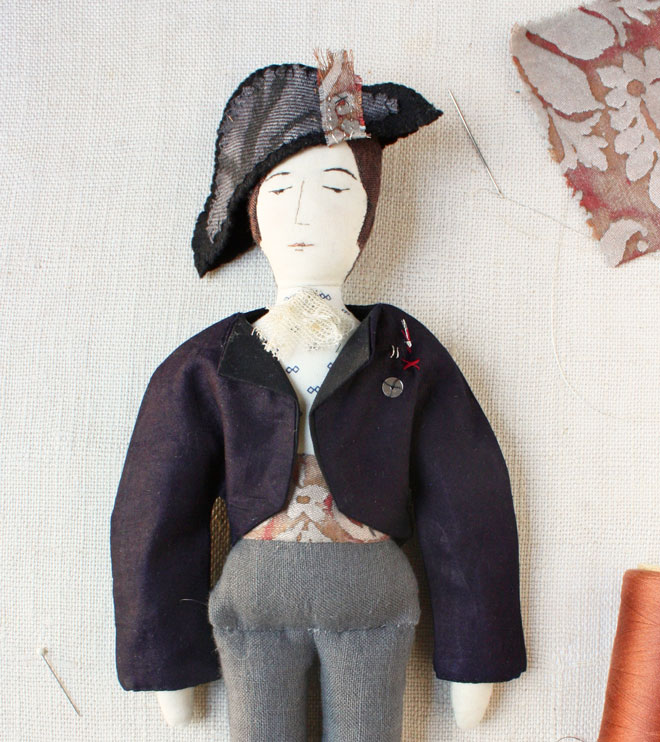 soldier rag doll with bicorne hat