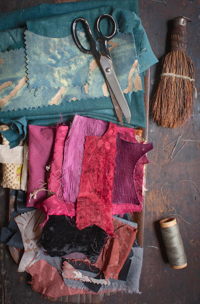 antique textiles in rich mineral shades