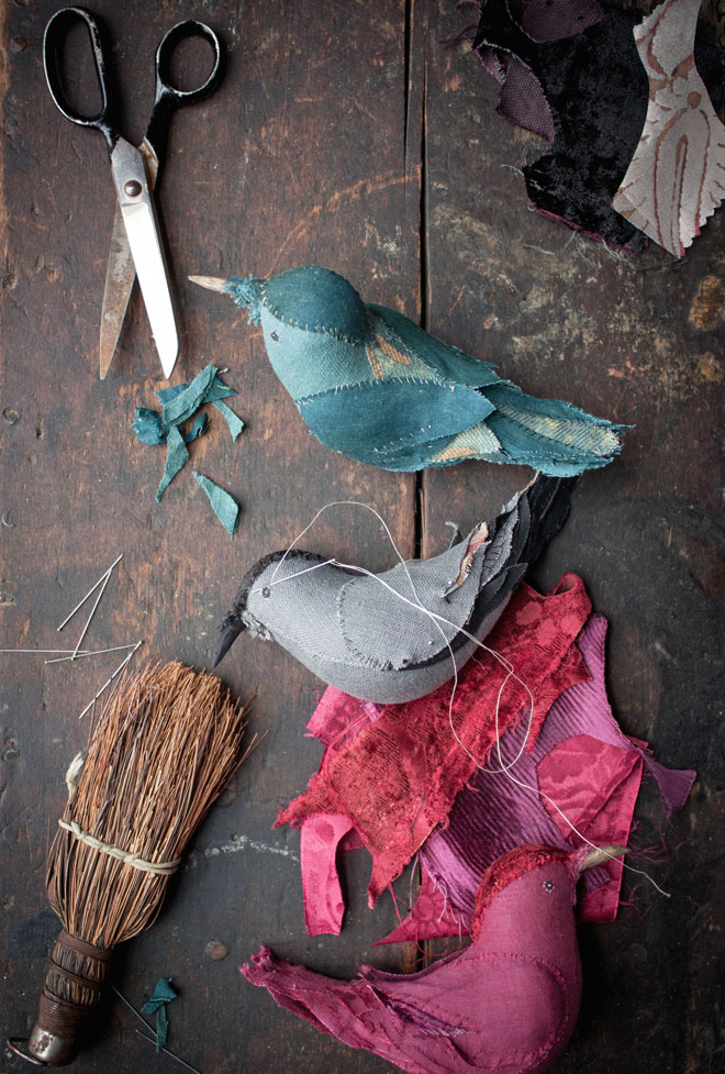 textile songbirds in jewel tones