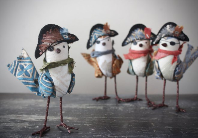 handmade pirate birds made from fortuny textiles