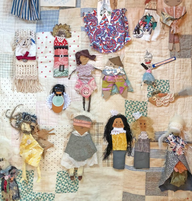 figures created from paper and fabric in a thirty minute challenge