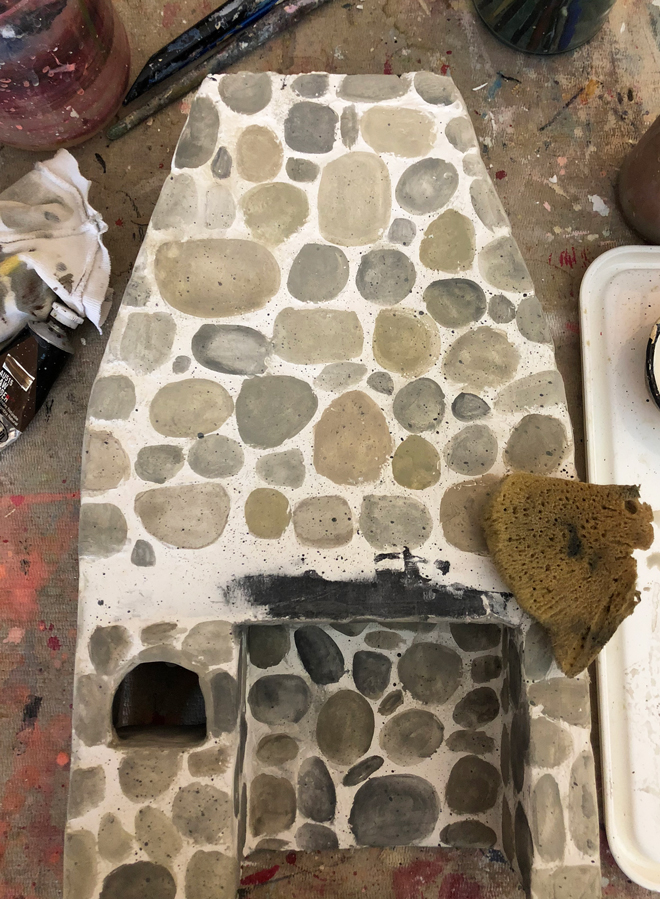 miniature stone hearth - painting the stones