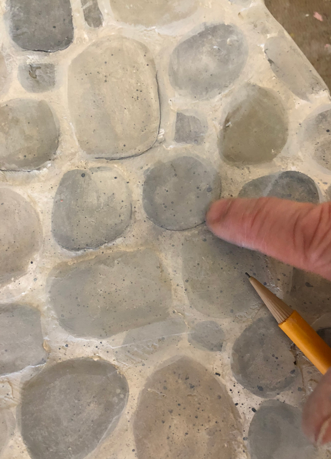 miniature stone hearth = pencil lines