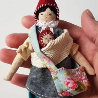 tiny rag doll and baby