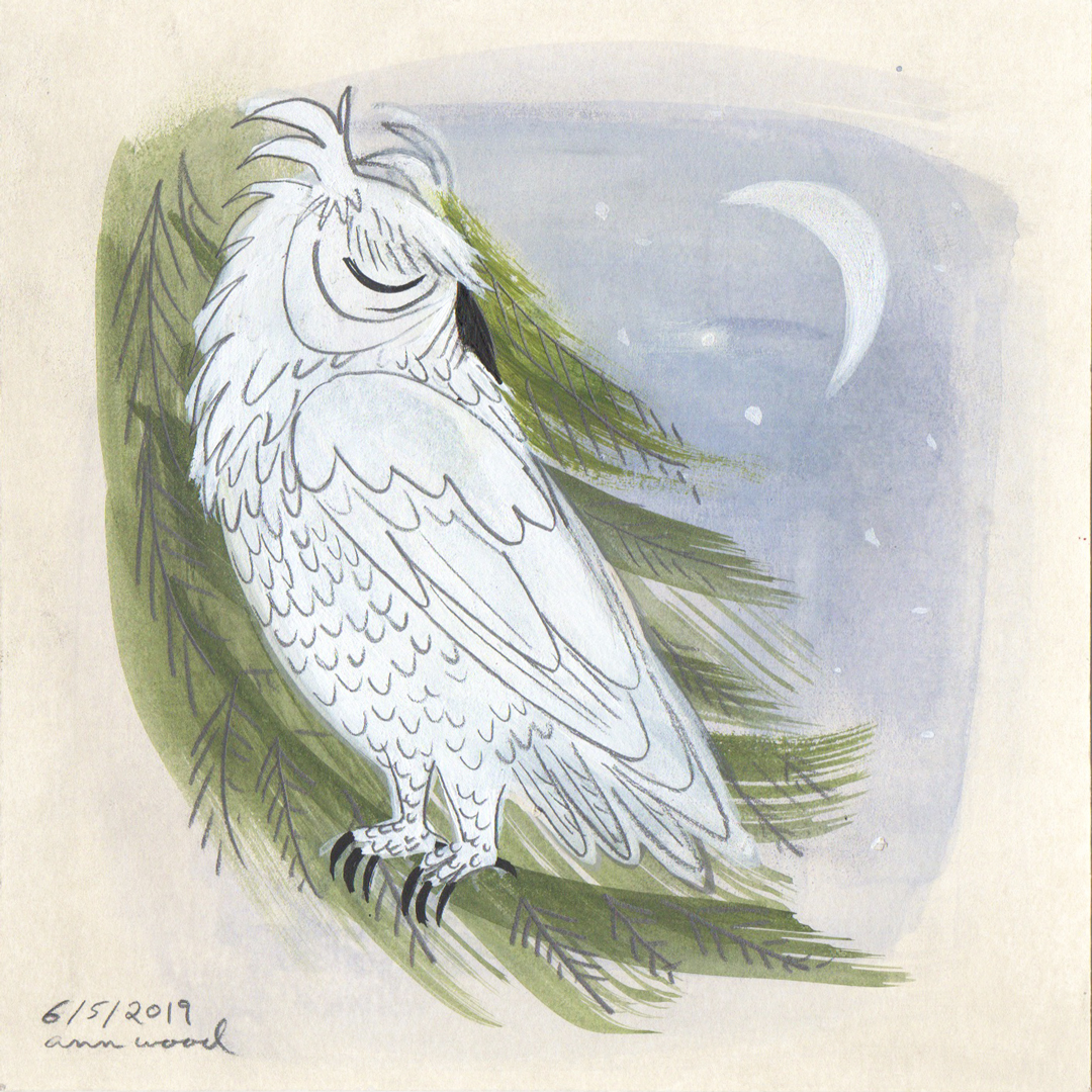 white owl painting