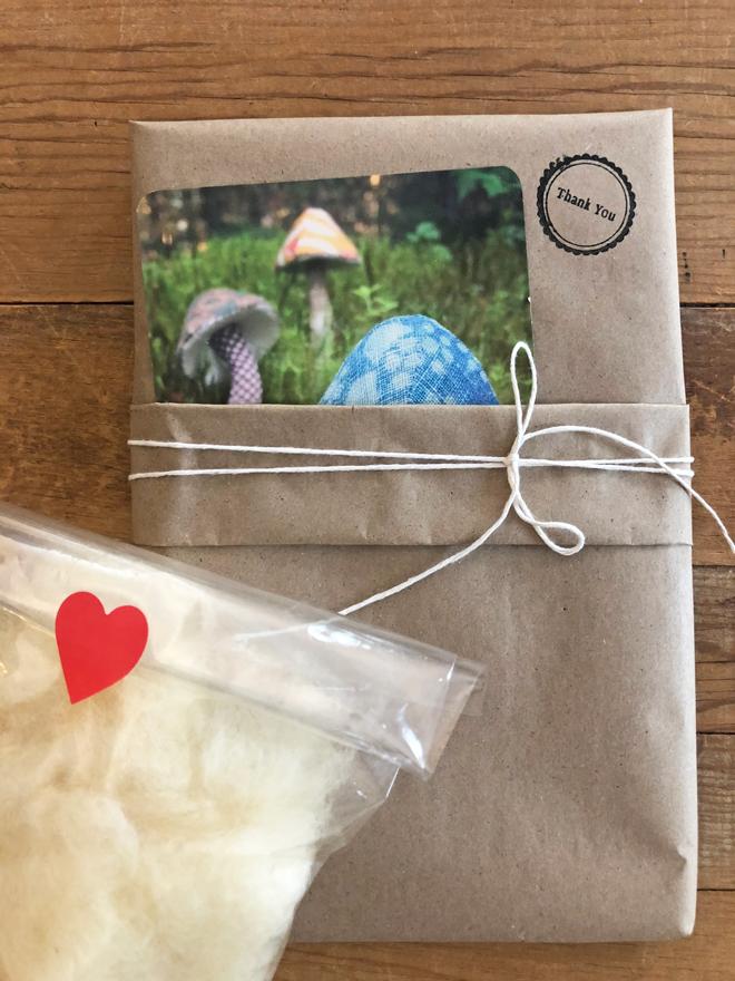 mushroom sewing pattern and wool