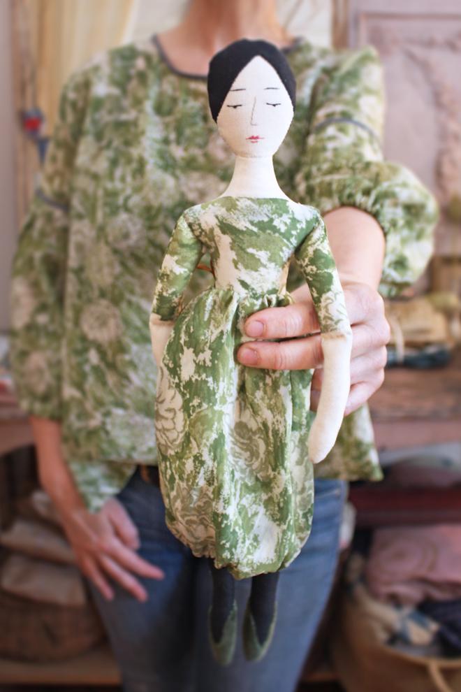 elegant rag doll in vintage green silk chiffon